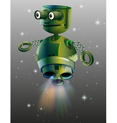 Green robot flying in the space vector