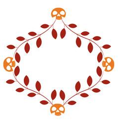 Halloween skulls heads with leafs frame vector