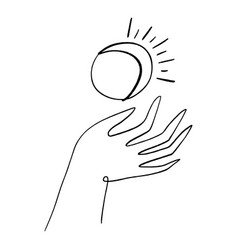 Hand and moon hand drawn style logo or icon vector