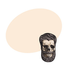 hand drawn human skull with hipster hairdo beard vector image