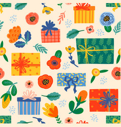 happy birthday seamless pattern with cute gift vector image
