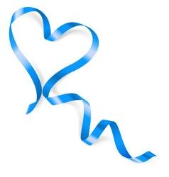 Heart made of blue ribbon vector