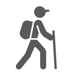 Hiking glyph icon travel and tourism tourist vector