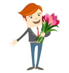 Hipster funny man holding flowers Flat style vector image