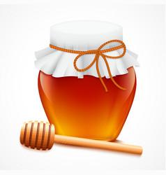 Honey jar with dipper emblem vector