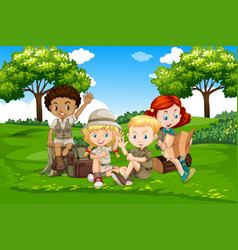 International camping kids in nature vector
