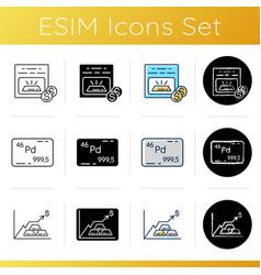 invest in precious metals icons set vector image