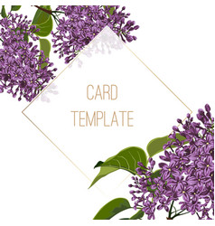 Invitation cards with beautiful spring lilac flowe vector