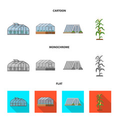 isolated object of greenhouse and plant symbol vector image