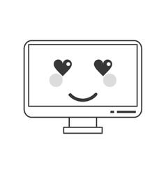 kawaii computer icon vector image
