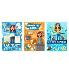laundry and cooking window cleaning service vector image