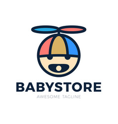 logo babys head in a hat with a propeller and a vector image