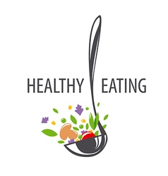 logo ladle and vegetables for a healthy diet vector image