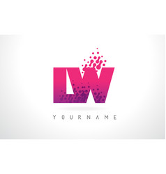 lw l w letter logo with pink purple color and vector image