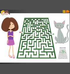 maze game with cartoon girl and pony horse vector image