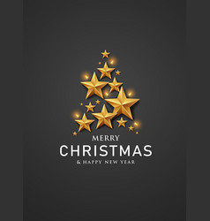 merry christmas and happy new year gold star vector image