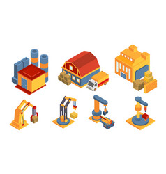 modern warehouse building and equipment set vector image