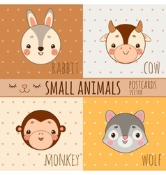 Monkey rabbit wolf and cow set of animals faces vector