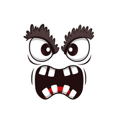 Monster face cartoon icon yelling creature vector