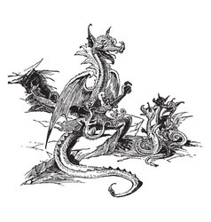 Mother dragon with baby dragons vintage vector