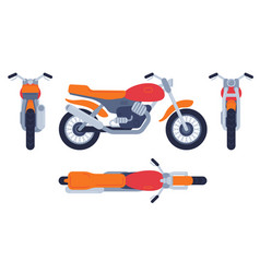 motorcycle in different positions motorbike top vector image