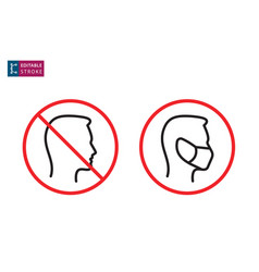 No entry without face mask icon editable stroke vector