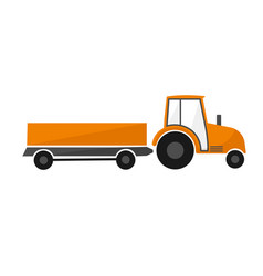 Orange tractor with a trailer agricultural vector