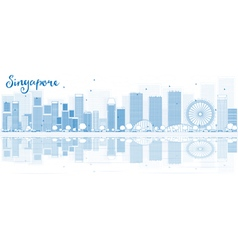 Outline Singapore skyline with blue buildings vector