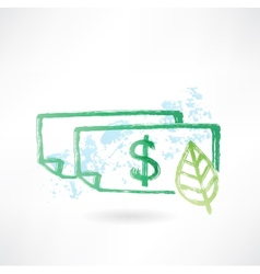 Paper dollar and leaf grunge icon vector image