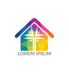 People home church logo design vector