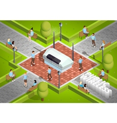 Public Wireless Technology Outdoor Isometric vector image