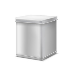 realistic detailed 3d white blank tin can template vector image