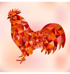 Red Polygon Bantam - Symbol of Chinese New Year vector image