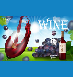 red wine ad glass bottle with grape on sunny vector image