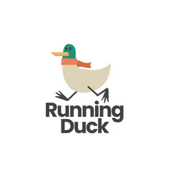 running duck flat logo icon vector image