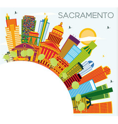 Sacramento usa city skyline with color buildings vector