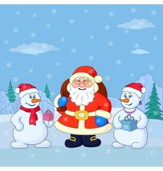 Santa Claus and snowmans in a winter forest vector image