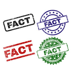 scratched textured fact seal stamps vector image