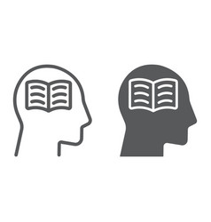 self study line and glyph icon e learning vector image