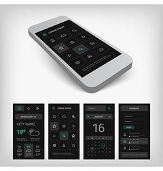 set black smartphone mobile user aplication vector image