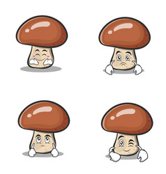 set collection mushroom character cartoon vector image
