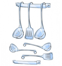 set kitchen utensils vector image vector image