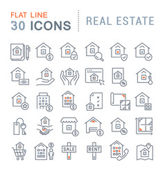 set line icons real estate vector image