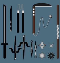 Set ninja weapon isolated on dark background vector