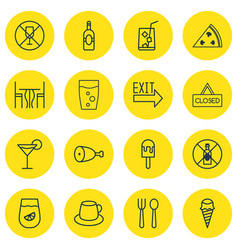 Set of 16 restaurant icons includes alcohol vector