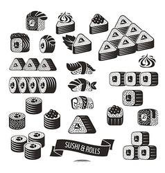 Set of black and white sushi icons vector image