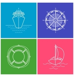 Set of Color Maritime Icons vector