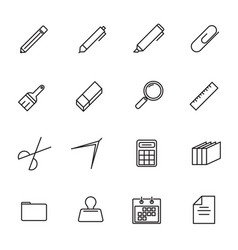 stationery thin line icon set back to school and vector image