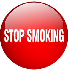 Stop smoking red round gel isolated push button vector