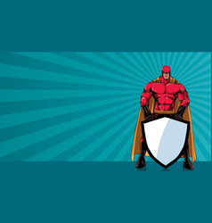 superhero holding shield ray light horizontal vector image